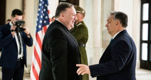 Hungary's prime minister Viktor Orban (right) receives US Secretary of State Mike Pompeo, who is on an official visit to Hungary. Photograph: EPA/Balazs Szecsodi