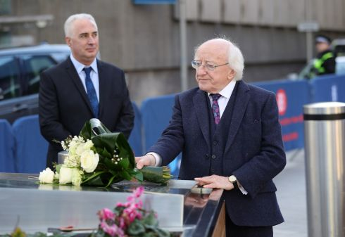UK VISIT: President Michael D Higgins lays a wreath at the Birmingham bombings memorial at the beginning of an official three-day visit to Britain. Photograph: Aaron Chown/PA Wire