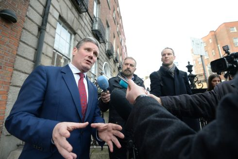 PEOPLE'S VOTE: Shadow Brexit secretary Sir Keir Starmer outside the Irish Congress of Trade Unions on Parnell Square in Dublin. The Labour MP was in Dublin to visit political and union leaders. He warned that Theresa May is 'running down the clock' towards Brexit and restated his party's promise to put a second referendum 'on the table'. Photograph: Dara Mac Donaill/The Irish Times