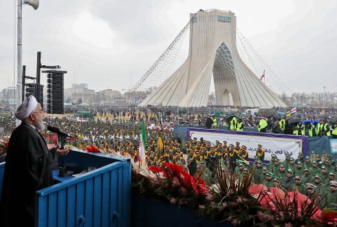 IRAN REMEMBERS: President Hassan Rouhani addressing crowds during a ceremony celebrating the 40th anniversary of the Islamic Revolution in Tehran's Azadi (Freedom) square. Photograph: HO/Iranian Presidency/AFP/Getty Images