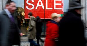 Irish retail sales were up but footfall was down in the final quarter of last year, according to data from Retail Ireland. Photograph: AP Photo/Kirsty Wigglesworth