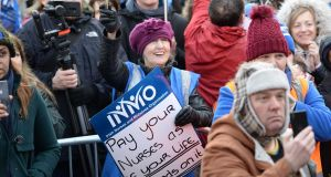 Supporters of a nurses and midwives protest at Merrion Square on Saturday linked to the now suspended nationwide strike. Photograph: Alan Betson