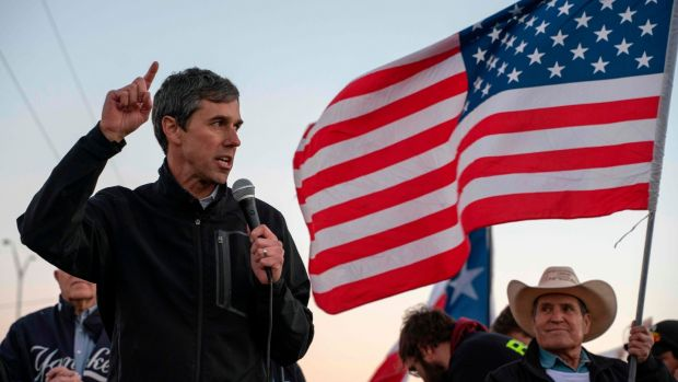 "Former Texas Congressman Beto O'Rourke speaks to a crowd of marchers during the ""March for Truth"" in El Paso, Texas, on Monday. Photograph: by Paul Ratj/AFP"