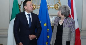 Leo Varadkar  meeting his British counterpart Theresa May in Dublin on February 8th. Photograph: AFP