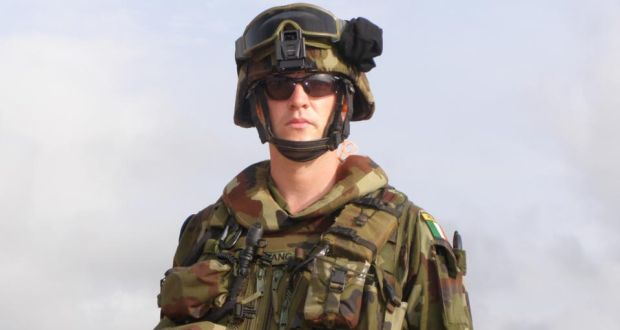 Morgan Mangan preparing to go on patrol while deployed with an EU mission in Chad in 2008