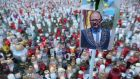 A photograph of murdered Gdansk mayor Pawel Adamowicz against candles left by mourners on January 17th. Photograph:  Sean Gallup/Getty Images