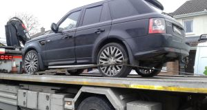 A Range Rover seized by the Criminal Assets Bureau on Tuesday. Photograph: Garda Press Office
