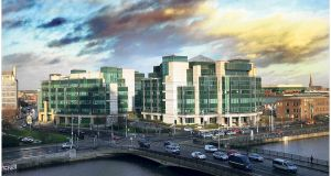 The  IFSC centre: The number of jobs moving to Dublin as a result of Brexit remains low, with more front office activities moving to Frankfurt and Paris. Photograph: Bryan O'Brien