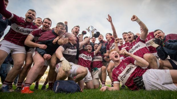 Mullinalaghta celebrate their Leinster championship win. Photograph: Oisin Keniry/Inpho
