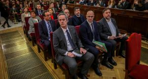Nine of the 12 people on trial are former members of the Catalan cabinet. Photograph:  Emilio Naranjo Pool/Getty Images