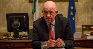 "Minister for Justice Charlie Flanagan accused those responsible for Monday's fire in Rooskey of showing ""reckless disregard for the safety of human life"". Photograph: James Forde"