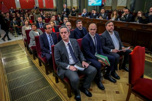 TRIAL: Catalan separatist leaders appear in court at the start of their trial at Supreme Court in Madrid, Spain, February 12th. Photograph: Emilio Naranjo/Pool/Reuters