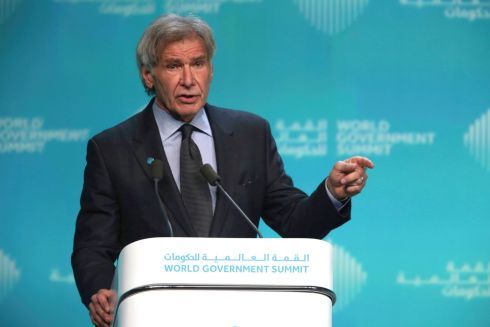 "American actor Harrison Ford speaks about ocean conservation at the World Government Summit in Dubai, United Arab Emirates. Ford offered an emphatic plea for protecting the world's oceans while calling out US president Donald Trump and others who ""deny or denigrate science"". Photograph: Jon Gambrell/AP"