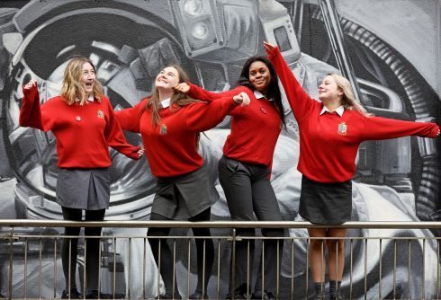 From left to right: Alisha Heffernan (17); Caoimhe O'Riordan (16); Favour Benson (15) and Ciara Hennessy (17) in front of one of the Waterford On Walls murals at the NCCA National Consultation Seminar on the Review of Senior Cycle in Treacy's Hotel, Waterford on February 12th. Photograph: Julien Behal