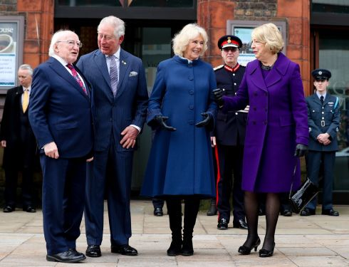 ROYAL MEETING:  President Michael D Higgins and his wife Sabina at the Victoria Gallery and Museum, University of Liverpool being greeted by  HRH The Prince of Wales Phillip and HRH The Duchess of Cornwall Camilla when they attended the formal signing ceremony to mark the joint patronage of the institute on the second day of the President and his wife's visit to the UK. Photograph: Maxwell's