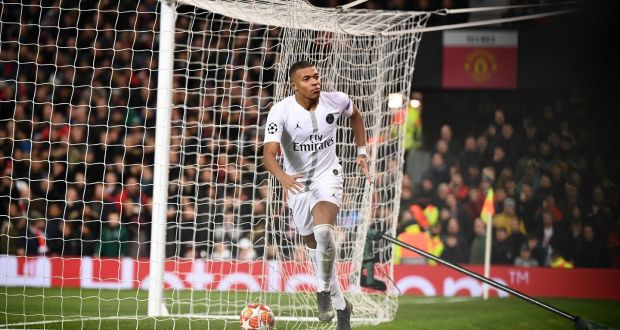 b4cf69cd625 Paris Saint-Germain s Kylian Mbappé celebrates scoring his team s second  goal during the first leg