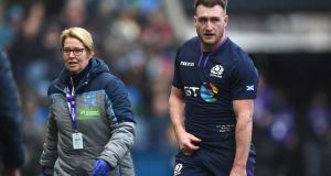 Scotland player Stuart Hogg leaves the field with an injury during the Six Nations match between Scotland and Ireland at Murrayfield. Photo: Stu Forster/Getty Images