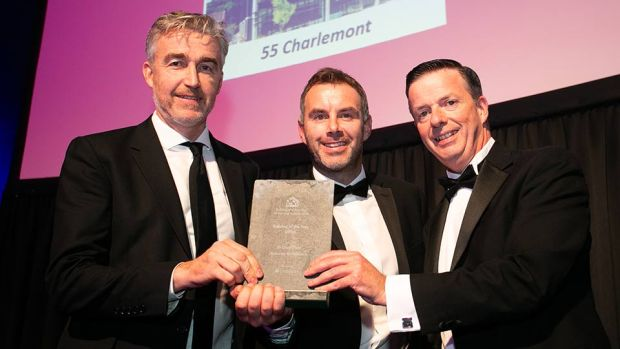 Kevin O'Driscoll, Commercial Director, Business River presents the Building of the Year - Office award to Paschal Mahoney & Fergus Devine, Mahoney Architecture.