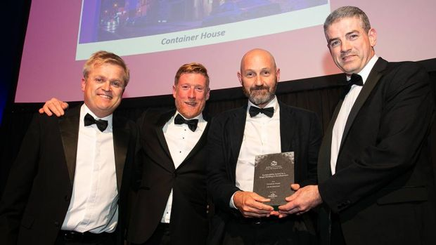 Brett O'Sullivan, Business Development Manager, Kingspan Insulation presents the Sustainability Award for a Single Building or Development award toJP McGann, Buildstruct, Robert Barry, Consulting Engineers & Dougal Sheridan, LiD Architecture.