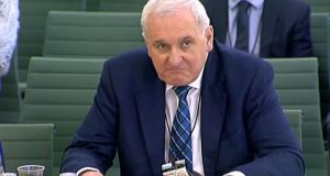 Former taoiseach Bertie Ahern giving evidence to the Exiting the European Union Committee in the House of Commons in London. Photograph: PA