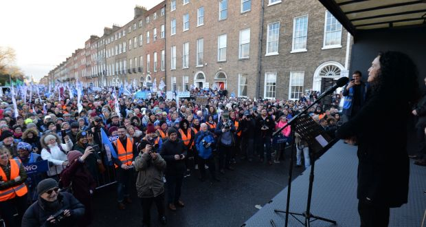 INMO's Phil Ní Sheaghdha addressing Nurses and Midwives at Merrion Square during a City Centre protest. Photograph: Alan Betson