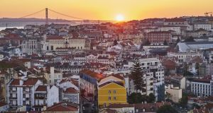 A sunset view from the Martinhal hotel in Lisbon