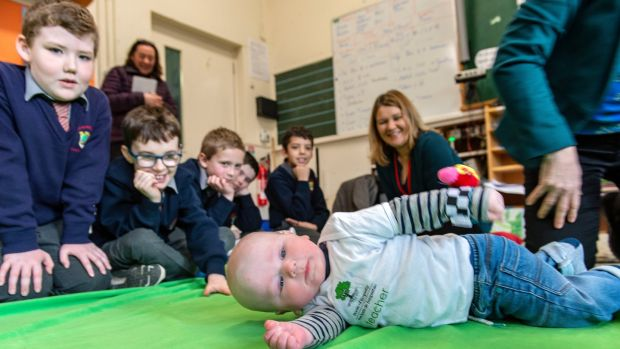 6-month-old Dave teaches the children in the Roots of Empathy programme. Photograph: Michael Mac Sweeney/Provision