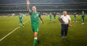 Declan Rice waves to the crowd at the end of the international friendly between the Republic of Ireland at the USA at the Aviva stadium  in June 2018. Photograph:  Ryan Byrne/Inpho