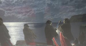 Waiting for Currachs to return at NIght by Ciaran Cleere from the art collection at The Red Bank Restaurant  Skerries