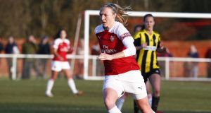 Louise Quinn in action for  Arsenal: her side face Chelsea in the Women's FA Cup fifth round on Sunday. Photograph:  Action Foto Sport/NurPhoto via Getty Images