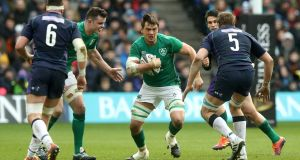 Quinn Roux lead the way in clearouts for Ireland against Scotland. Photograph:  David Rogers/Getty Images