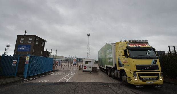 A goods lorry at the commercial harbour port in Larne, Co Antrim. Photograph: Charles McQuillan/Getty Images