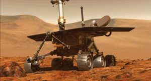 Opportunity rover of NASA part of the Mars planet exploration program. Photograph: NASA/AFP