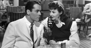 She's got him wrapped around her finger: Henry Fonda and Barbara Stanwyck in The Lady Eve (1941)