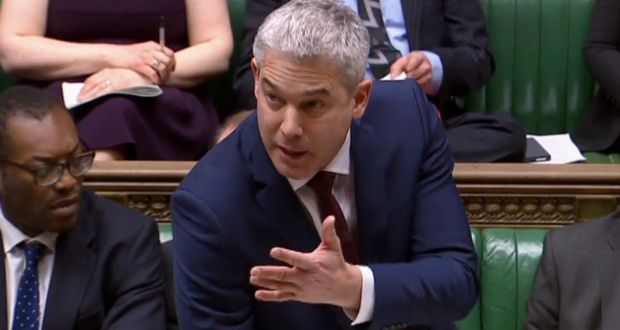 Britain's Brexit Minister Stephen Barclay speaking in the House of Commons in London on February 14th, 2019, ahead of a vote on amendments to the Brexit withdrawal bill. Photograph: AFP/Getty Images