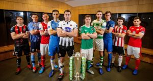 Bohemians' Keith Buckely, UCD's Gary O'Neill, St. Patrick's Athletic's Ian Birmingham, Finn Harps' Sam Verdon, Dundalk's Brian Gartland, Cork's Colm Horgan, Shamrock Rovers' Sean Boyd, Waterford's Matthew Connor, Derry's Barry McNamee and Ronan Murray of Sligo at the 2019 Airtricity League season launch. Photo: Ryan Byrne/Inpho