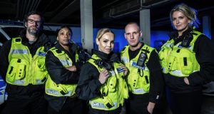Marcus Brigstocke, Sandi Bogle, Katie Piper, Jamie Laing and Penny Lancaster   in 'Famous and Fighting Crime'. Photograph:  Channel 4