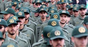 Members of Iranian revolutionary guards corps during a ceremony marking the 40th anniversary of the 1979 Islamic revolution at the Azadi (Freedom) square in Tehran on Sunday. Photograph: Abedin Taherkenareh/EPA