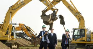 Taoiseach Leo Varadkar  and Minister for Transport Tourism and Sport Shane Ross perform the official sod-turning for Dublin Airport's new North Runway project, along with DAA chief executive Dalton Philips. Photograph: Dara Mac Dónaill