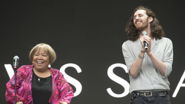 American Gospel singer and civil rights activist Mavis Staples on stage with Hozier. Photograph: Dave Meehan