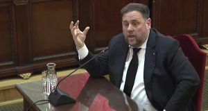Video-grab of defendant Oriol Junqueras, former Catalan regional deputy president, testifying in a   case against 12 Catalan pro-independence politicians involved in the illegal referendum in 2017. Photograph: Spanish Supreme Court's Institute