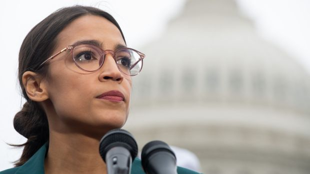 US representative Alexandria Ocasio-Cortez was among local politicians opposing the Amazon campus due to urban overcrowding and the city's promise of billion-dollar tax breaks and incentives. Photograph: Saul Loeb/AFP/Getty Images