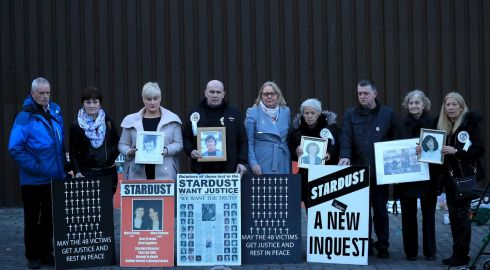 Bereft family members at the Stardust memeorial vigil, Artane, Dublin; 48 people died on St Valentine's day, 1981, in a blaze that ripped through the nightclub. Photograph: Donall Farmer