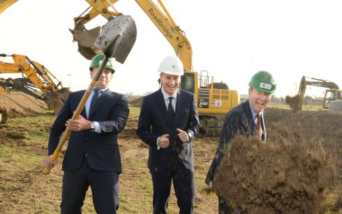 Leo Varadkar and Shane Ross perform the official sod-turning for Dublin Airport's new North Runway project, along with DAA chief executive Dalton Philips. Photograph: Dara Mac Donaill/The Irish Times