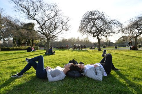 Bruna Piredda and Anielle Aguiar from Brazil in Dublin's St Stephens Green. Photograph: Alan Betson/The Irish Times