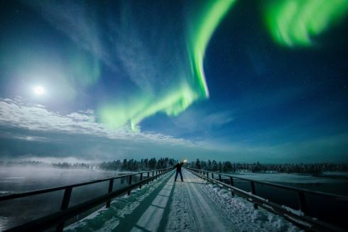 The Aurora Borealis (Northern Lights) in the sky near Inari, Lapland, Finland. Photograph: Alexander Kuznetsov/Reuters