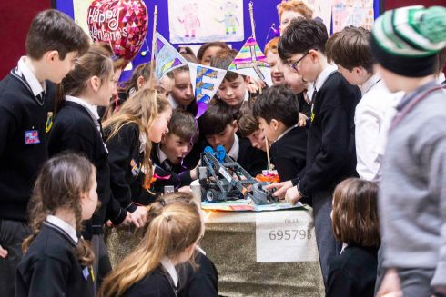 Students of Gaelscoil Mhainistir Na Corann Midelton at the Dell EMC VEX Robotics finals. Photograph: Clare Keogh
