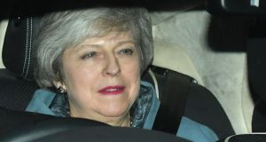 Prime minister Theresa May leaves the Houses of Parliament in Westminster, London, following a Brexit vote in the House of Commons. Photograph: PA Wire