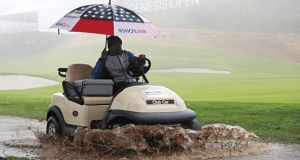 Play was suspended due to rain during the first round of the Genesis Open in Pacific Palisades, California. Photograph: Yong Teck Lim/Getty Images