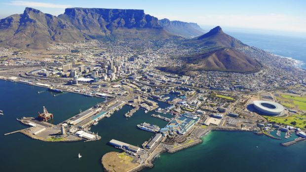 Cape Town is overlooked by Table Mountain